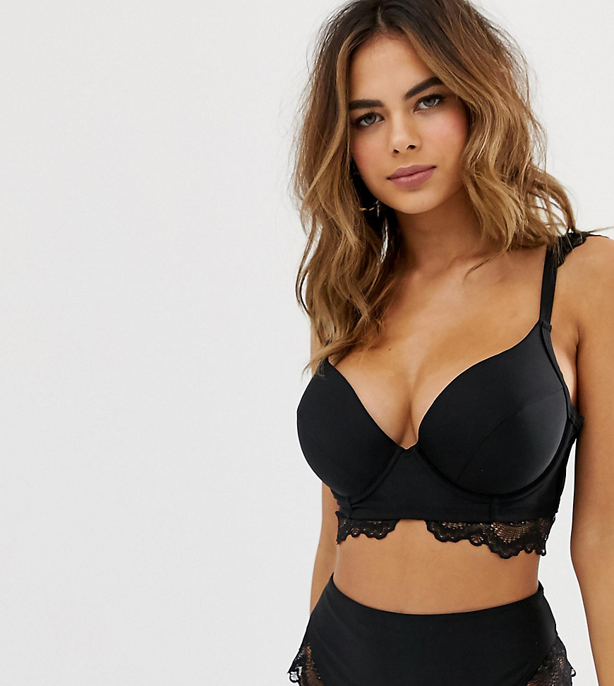Wolf & Whistle Fuller Bust Exclusive lace underwired bikini top in black