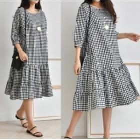 ロングワンピース チェック柄 フリル デイリー 普段使い 韓国ファッション