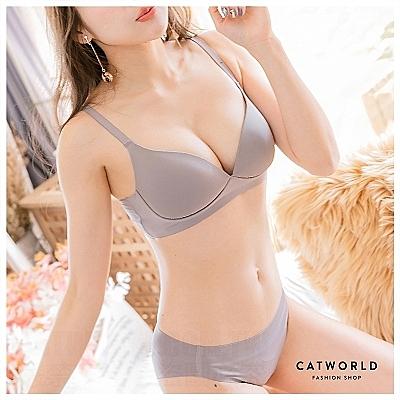 Catworld 簡約藍調二代。背扣款無痕無鋼圈細肩內衣(可可)【18803973】‧S-XL