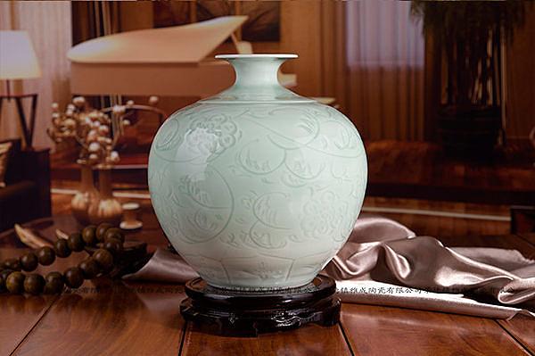 陶瓷花瓶 雕刻影青冬瓜瓶 家居擺件