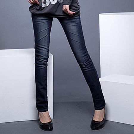 窄管褲--完美修長細直比例刷白鬼爪痕深藍色調窄管靴型褲(S-7L)-N27眼圈熊中大尺碼