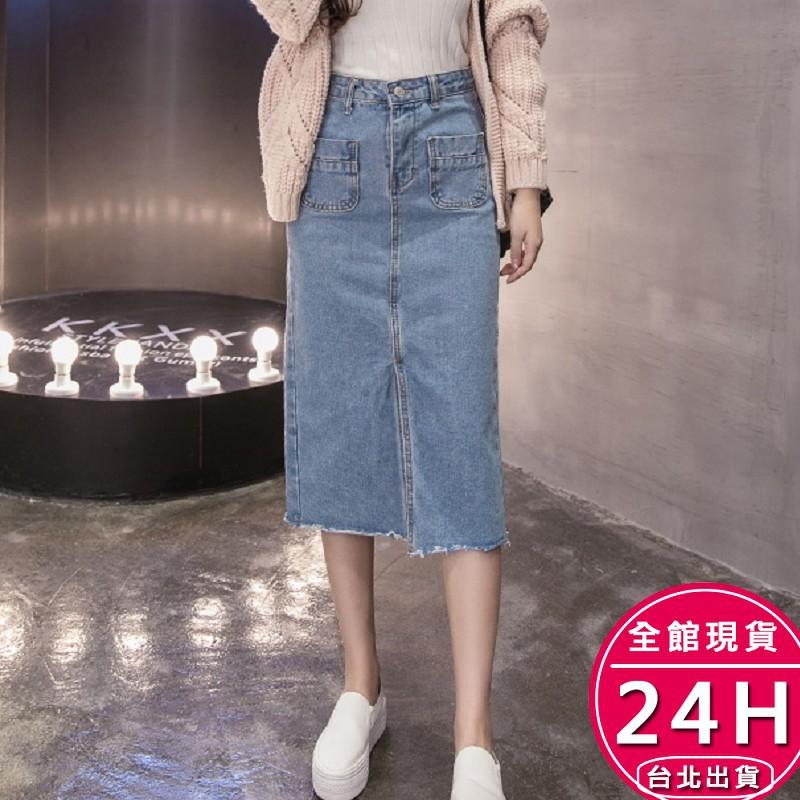 梨卡 -韓版超顯瘦修身中長版A字長版牛仔裙/3色 BR232【現貨24H】