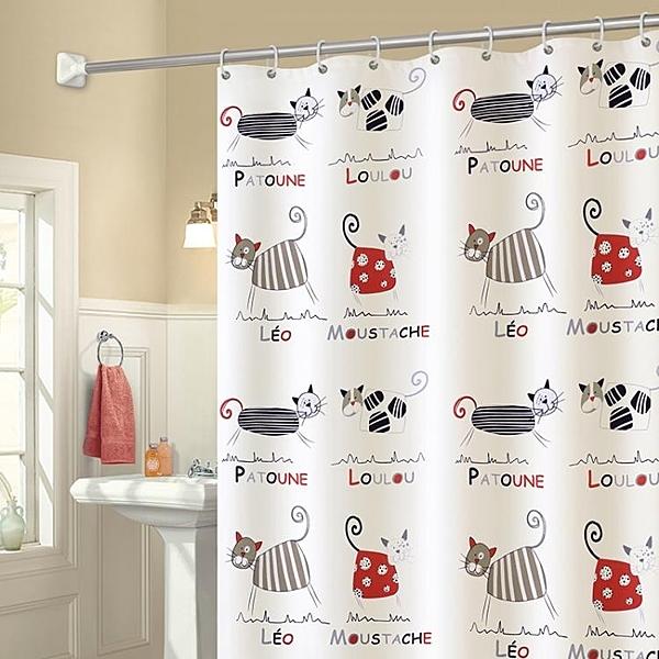 加厚防水防霉卡通浴簾套裝衛生間窗簾布隔斷門簾子浴室掛簾免打孔