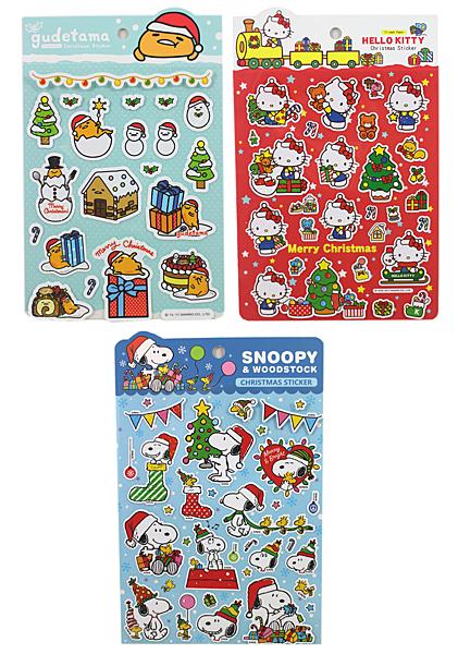 【卡漫城】 耶誕 雷射 貼紙 任選三張 ㊣版 SNOOPY 史奴比史努比 蛋黃哥 Hello Kitty 聖誕節 造型貼