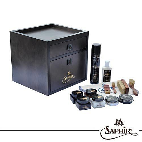 【SAPHIR莎菲爾-金質】保養品收納櫃組合-完整的皮革保養與拋光打亮配件組合收納櫃