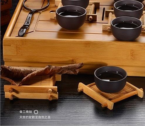 (協貿國際)茗匠竹製杯墊方形茶道零配茶具配件茶盤配件小號托盤茶杯  5入