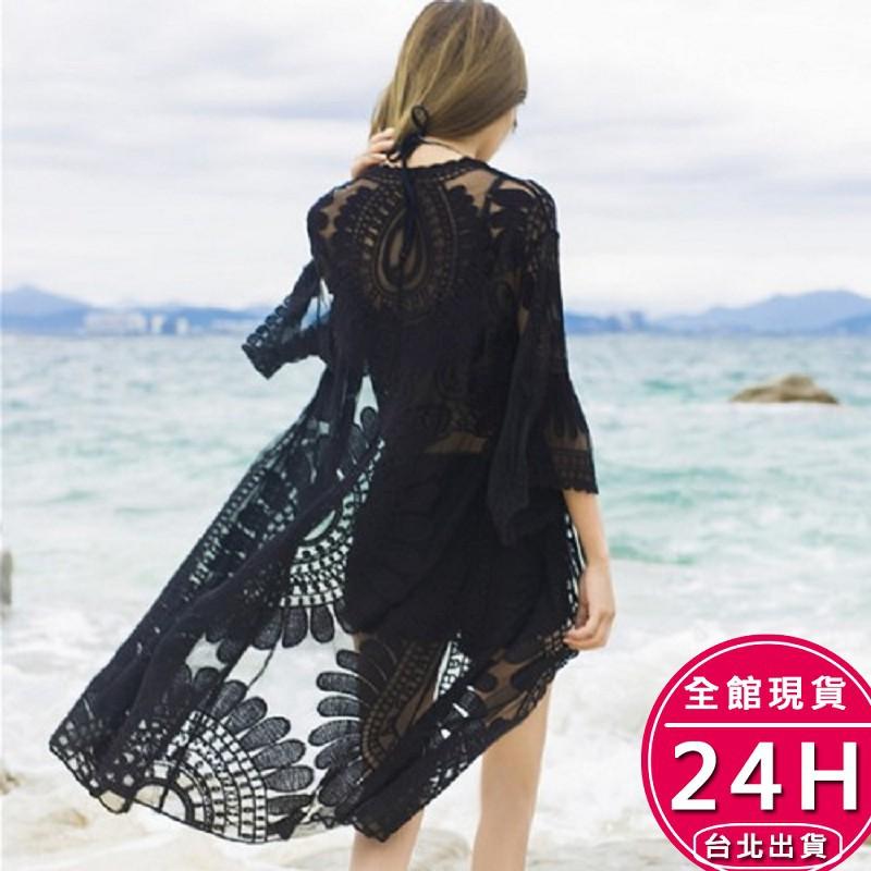 梨卡 - 韓國甜美沙灘中長版防曬外套罩衫-鉤花透視鏤空針織蕾絲短袖泳裝比基尼外搭C6130【現貨24H】