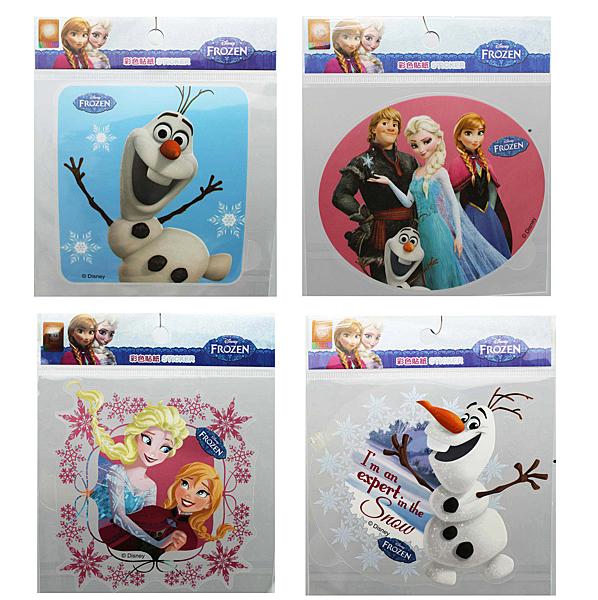 【卡漫城】 冰雪奇緣 造型貼紙 4張一組 ㊣版 透明 防水 Frozen 艾莎 安娜 彩色貼紙 雪寶 台灣製