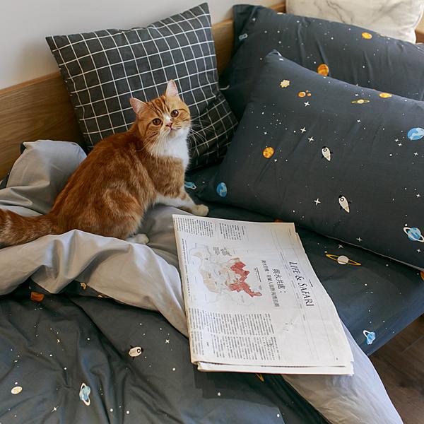 遨遊宇宙 Q1 雙人加大床包三件組 100%精梳棉 台灣製
