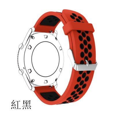 三星Samsung Galaxy Watch 46MM 錶帶 雙色通氣 矽膠錶帶 22mm接頭 智能手錶帶 撞色硅膠
