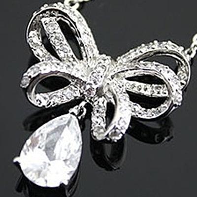 925純銀項鍊 鑲鑽水晶-蝴蝶結造型氣質銀飾女墜飾73y58[巴黎精品]