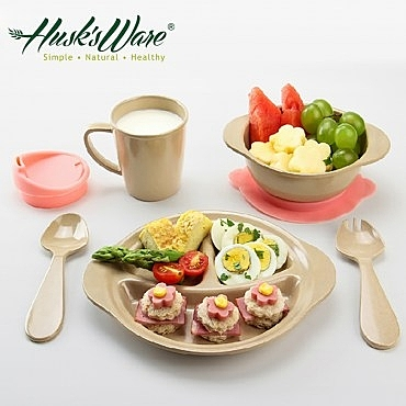 美國Husk's ware 稻殼天然無毒環保微笑餐具組(5件組)
