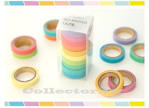 【超取399免運】韓版 10色套裝可書寫彩虹和紙膠帶 糖果色 馬卡龍 手撕貼紙 (Mini)