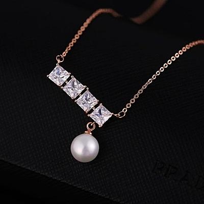 項鍊 玫瑰金 珍珠純銀吊墜-簡約水晶生日情人節禮物女飾品73dw123【時尚巴黎】