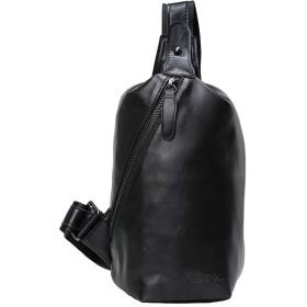 [TIDING(タイディング)] メンズ 本革 ナッパレザー ボディバッグ ワンショルダーバッグ 超軽量 撥水 iPadmini対応 自転車鞄 ブラック