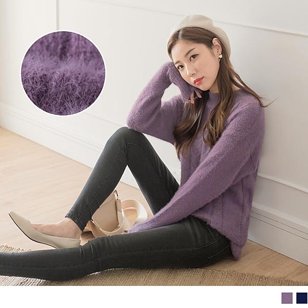 《FA1823-》馬海毛手感純色長版粗針織毛衣 OB嚴選
