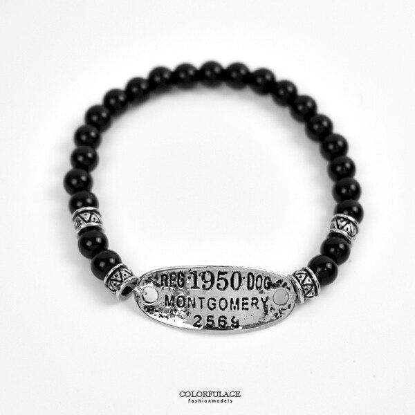 串珠手鍊 個型鐵牌黑瑪瑙手環【NAE31】