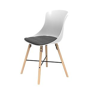 組 - 特力屋萊特 塑鋼椅 櫸木腳架30mm/白椅背/灰座墊