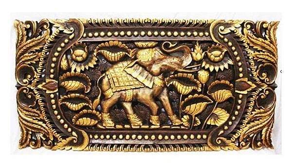 木雕 掛件 大象雕花板