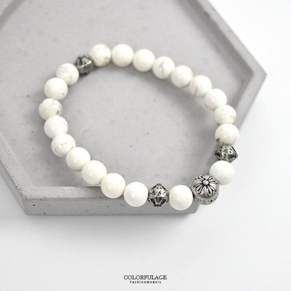 串珠手鍊 簡單雕花珠白松石手環【NAE14】