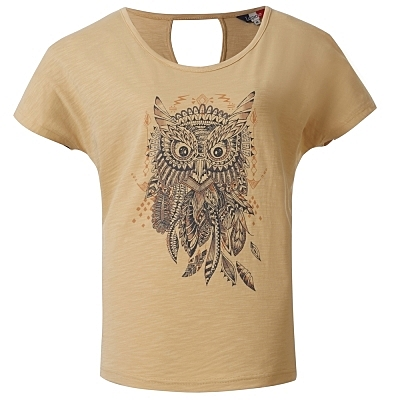 La proie 女式時尚短袖T恤(背鏤空款)-麥黃
