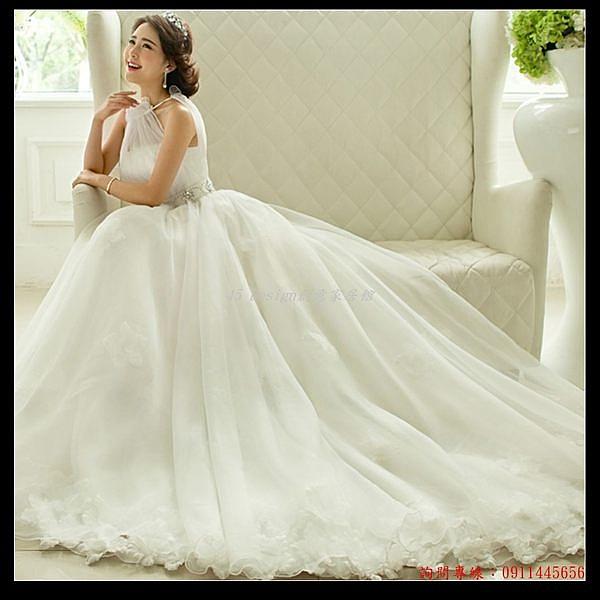 (45 Design婚紗禮服) 客製化7天到 貨  性感掛脖 韓式韓版公主新娘大拖尾婚紗禮服