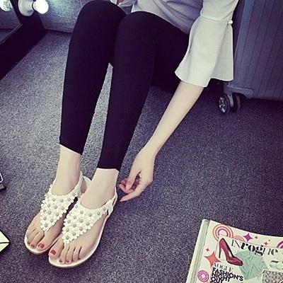 羅馬涼鞋-小花時尚優雅氣質甜美女平底涼鞋2色73ey12[巴黎精品]