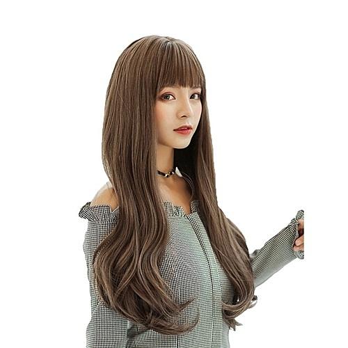 整頂假髮(長髮)-齊瀏海蓬鬆微彎直髮女假髮4色73vs52[巴黎精品]