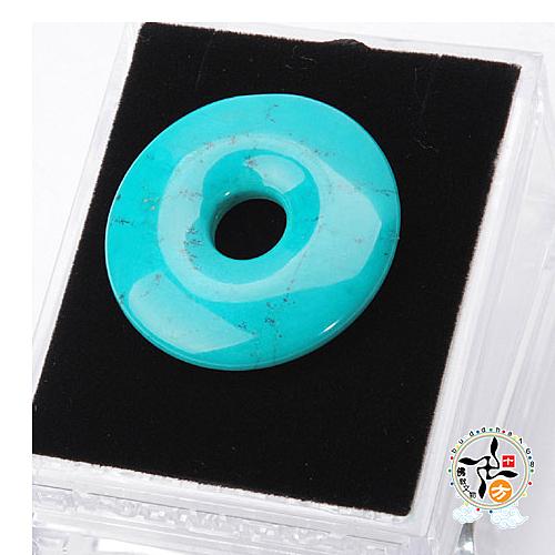 綠松石(平安扣)直徑4公分   +平安加持小佛卡  【 十方佛教文物】