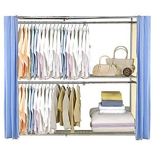 巴塞隆納─AH-48伸縮衣櫥 前布簾水藍色不織布