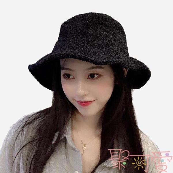 漁夫帽女日系韓版潮百搭毛絨呢盆帽子【聚可愛】