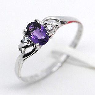 925銀 天然紫水晶戒指  時尚