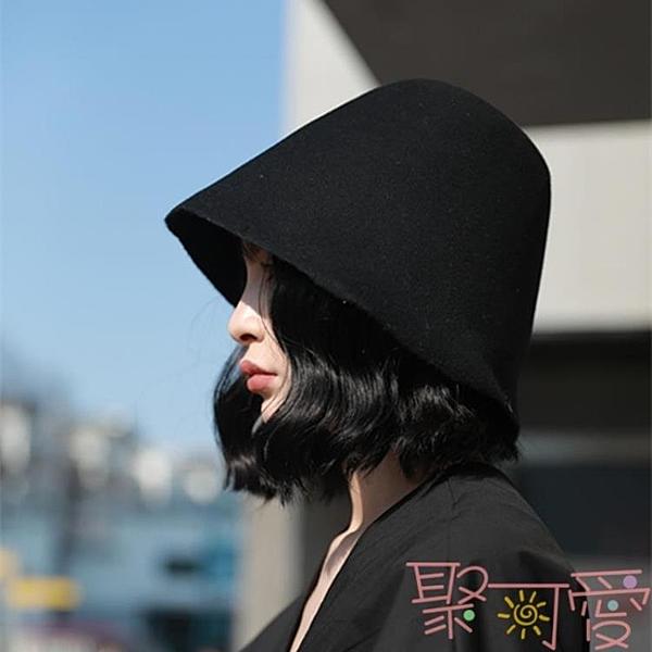 百搭可折疊羊毛呢帽子男女秋冬漁夫帽復古鐘形盆帽【聚可愛】