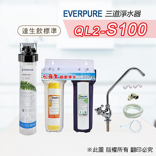 水蘋果居家淨水~快速到貨~免運費~Everpure美國原廠 S100三道吊片型淨水器(自助型含全套配件)