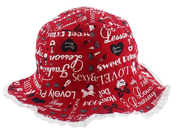 【卡漫城】 字母 紅 漁夫帽 54cm ㊣版 文字 愛心 剪影 荷葉邊 兒童帽 遮陽帽 帽子 女童 女生 幼兒