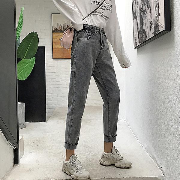 煙灰色高腰牛仔褲2020新款褲子女顯瘦百搭蘿蔔褲寬鬆哈倫褲九分褲 店慶降價