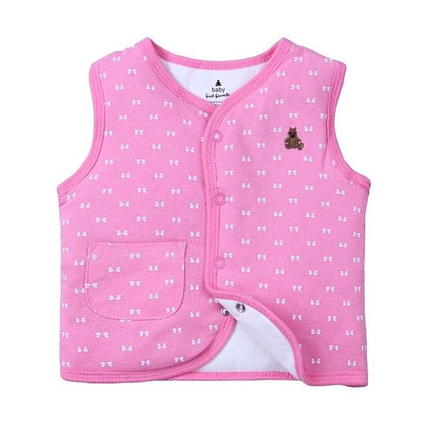 女Baby女童裝鋪棉背心桃粉色蝴蝶結印花純棉鋪棉背心現貨