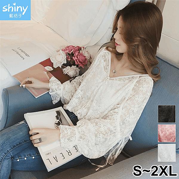 【V2991】shiny藍格子-柔軟飄逸.V領鈎花鏤空網紗兩件上衣
