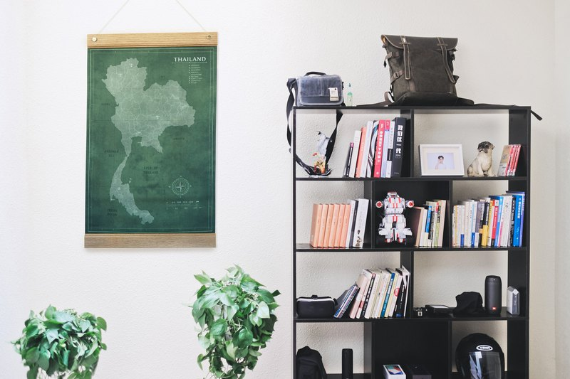 泰國地圖牆裝飾木掛  畫布60x48cm  forest green