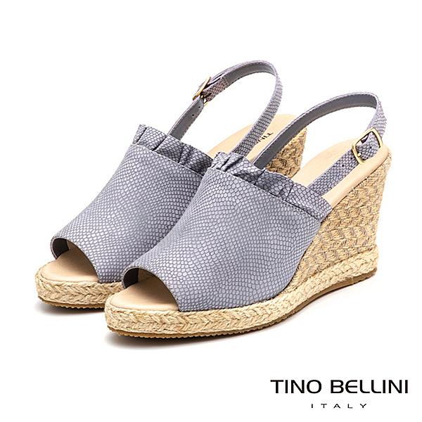 Tino Bellini 巴西進口夢幻抓摺魚口藤編楔型涼鞋 TF9028