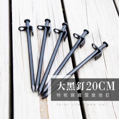 20CM特粗鋼鐵露營營釘地釘大黑釘 10入.高強度鑄鐵不易生鏽拔釘孔設計天幕帳篷防風營繩釘