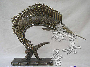 樹脂工藝品 木雕擺件 家居裝飾品槍魚