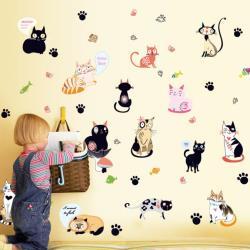 【半島良品】DIY無痕創意牆貼/壁貼-卡通萌貓組 SK7093中