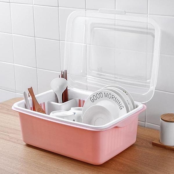 碗架  廚房碗櫃塑料瀝水碗架帶蓋碗筷餐具收納盒放碗碟架滴水碗盤置物架【快速出貨】