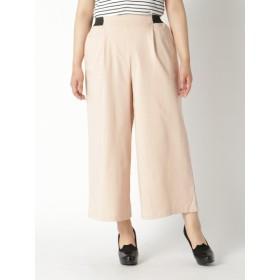 【大きいサイズレディース】【L-3L】美ラインウエストゴムワイドパンツ パンツ ワイドパンツ