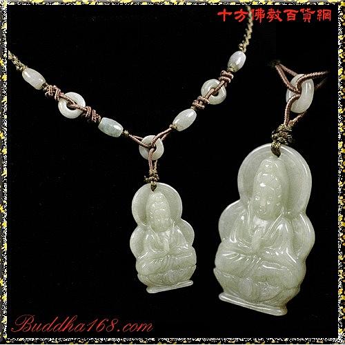 合掌觀音玉佩項鍊【十方佛教文物】