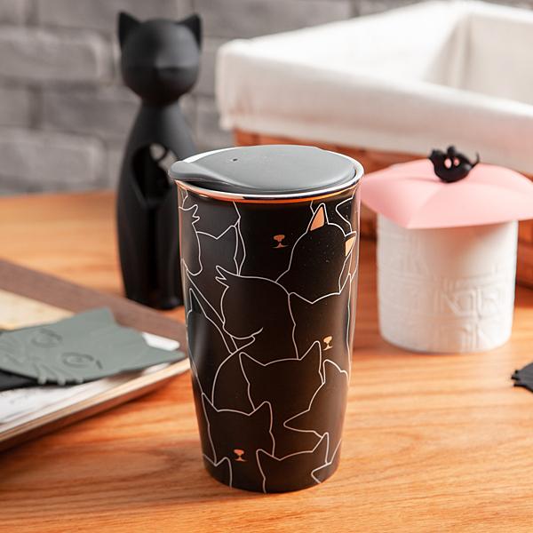 GiftConcept貓咪雙層陶瓷杯355ml-生活工場