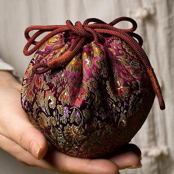 中式布藝茶具收納袋鼓形茶壺蓋碗茶杯保護袋