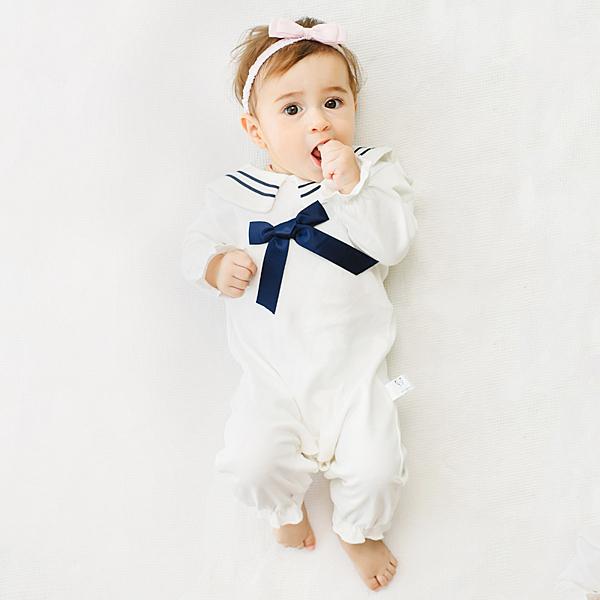 女寶寶長袖兔裝 公主風連身衣 白色海軍風 | 韓版童裝 (嬰幼兒/兒童/小孩)
