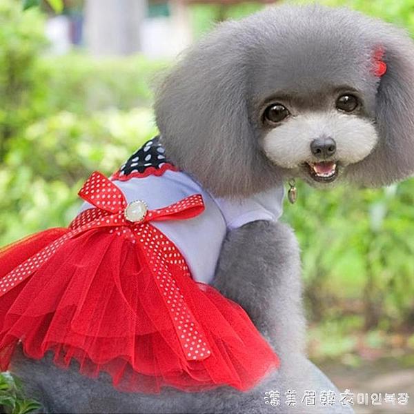 寵物比熊泰迪狗狗衣服春季小型犬夏季薄款公主裙子可愛萌系女母狗 漾美眉韓衣